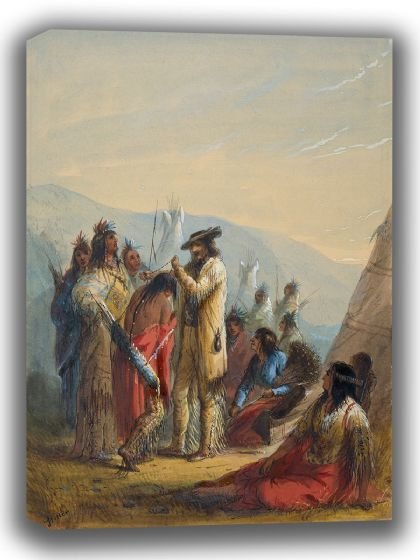 Miller, Alfred Jacob: Presents to Indians. Fine Art Canvas. Sizes: A4/A3/A2/A1 (003837)